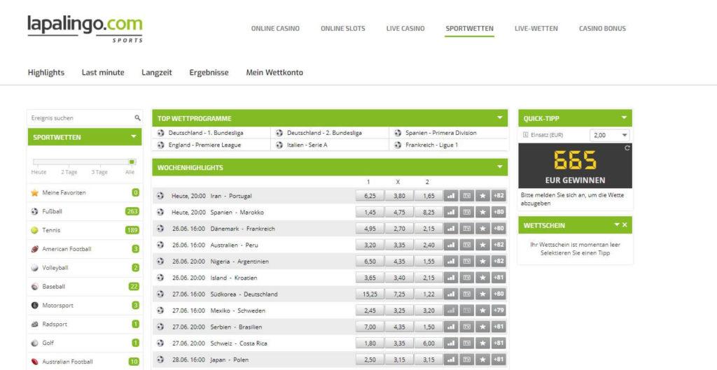 Lapalingo.com Sportwetten – Erfahrungen und Bewertung