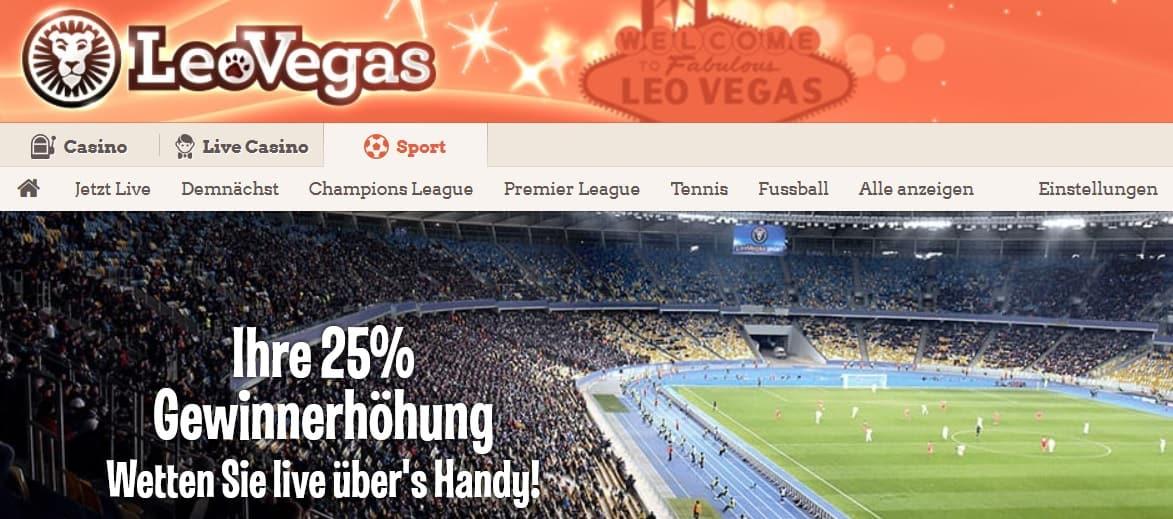 LeoVegas Sport Wettbonus – bis zu 100 Euro Willkommensbonus einlösen