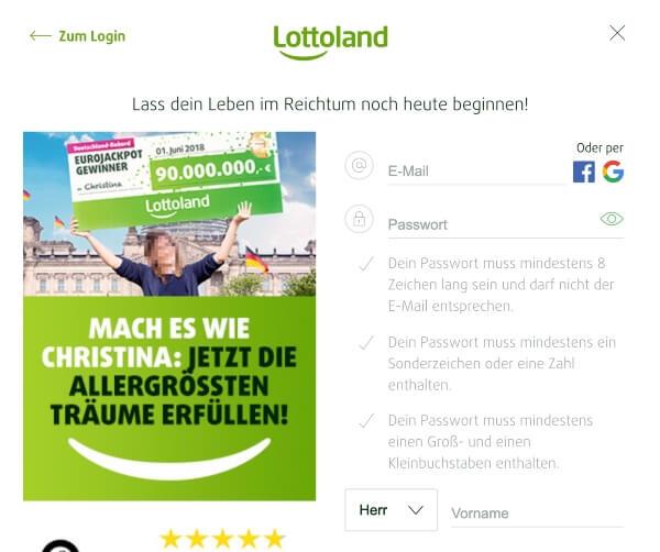Lottoland – Registrierung