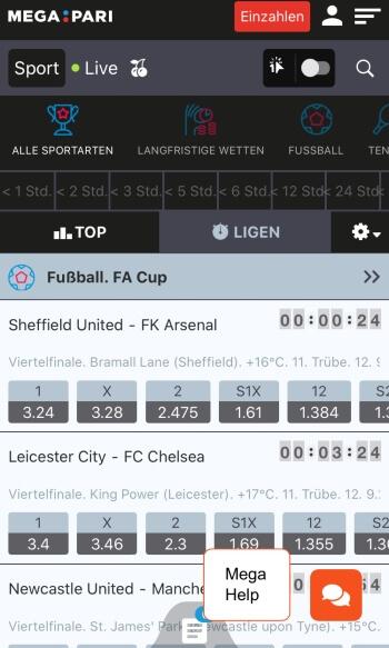 Megapari - Sportwetten-App