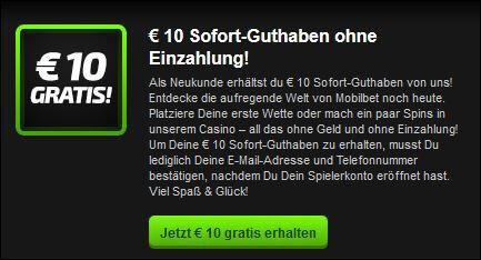 Mobilebet App - 10€ Sofort-Guthaben (Quelle: mobilbet)