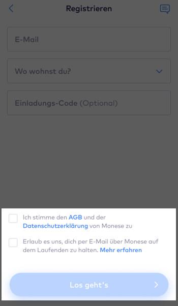 Registrierung bei Monese – AGB und Datenschutzerklärung zustimmen