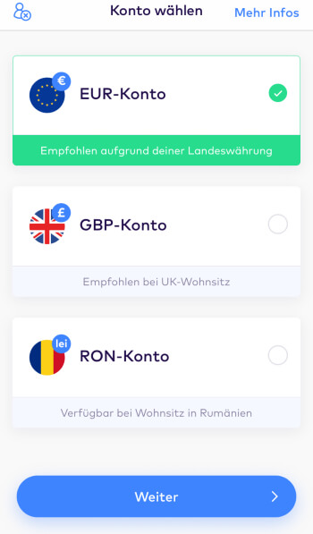 Registrierung bei Monese – Konto wählen