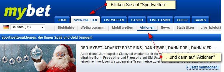 mybet Advent – Mit dem Adventskalender Preise gewinnen