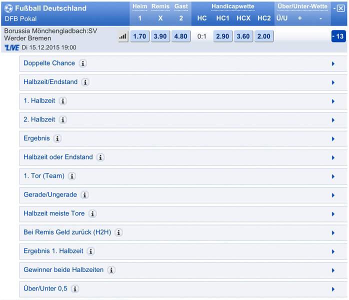 mybet bietet zahlreiche DFB-Pokal-Wettmöglichkeiten (Quelle: mybet)