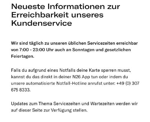 N26 - Kundenservice