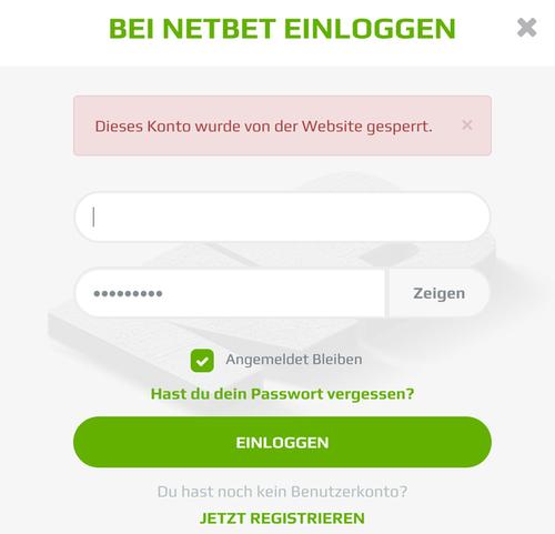 Anmeldemaske von gesperrtem NetBet-Konto
