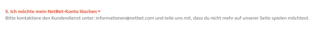 NetBet Konto löschen FAQ