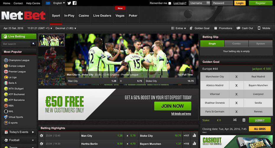 Sportwetten Webseite des Wettanbieters NetBet mit dem Anmeldebutten oben rechts (Quelle: Netbet)
