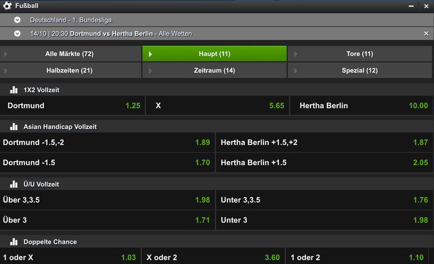 Übersicht einiger Wettarten inkl. Quoten einer Bundesligabegegnung bei NetBet (Quelle: NetBet)