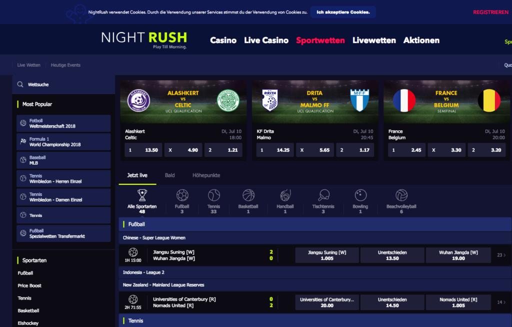 NightRush Sportwetten – Erfahrungen und Bewertung 2018