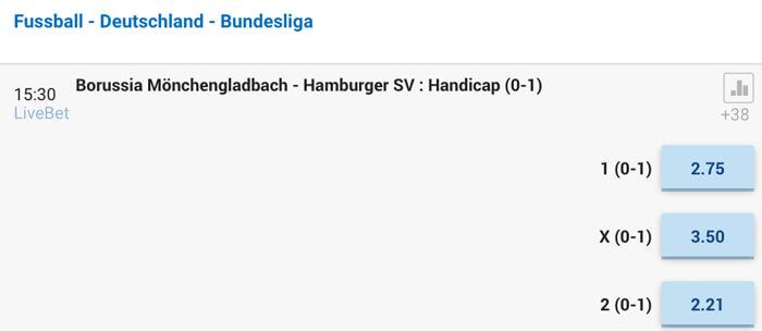 Beispiel einer Handicap-Quote einer 1. Bundesligabegegnung bei NordicBet (Quelle: NordicBet)