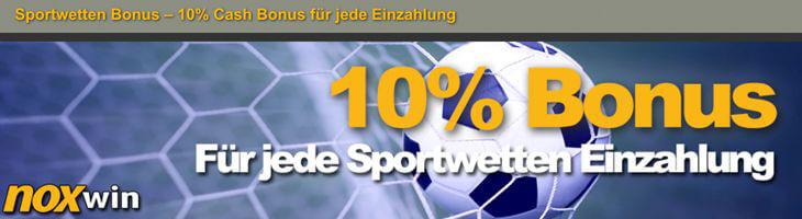10% Einzahlungsbonus bis zu 100€ bei noxwin (Quelle: noxwin)