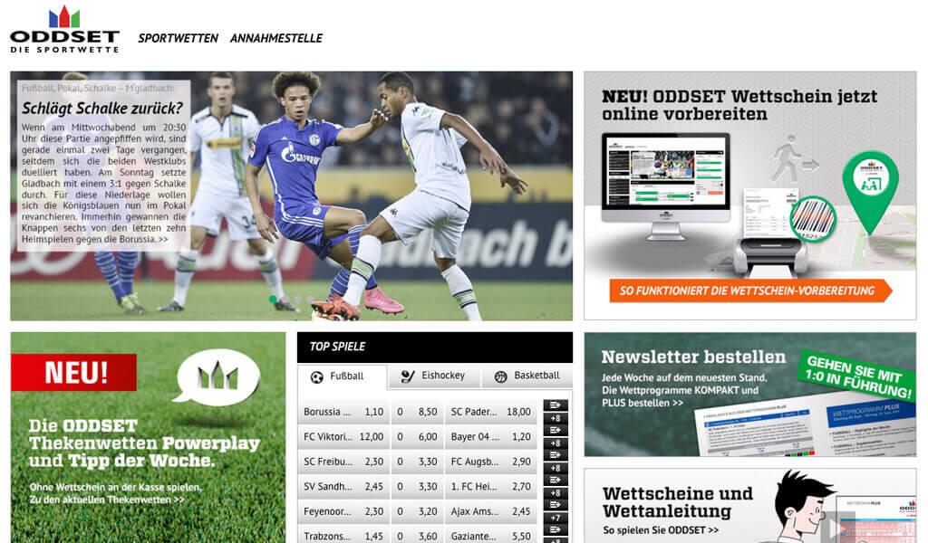 Startseite von Oddset (Quelle: Oddset)
