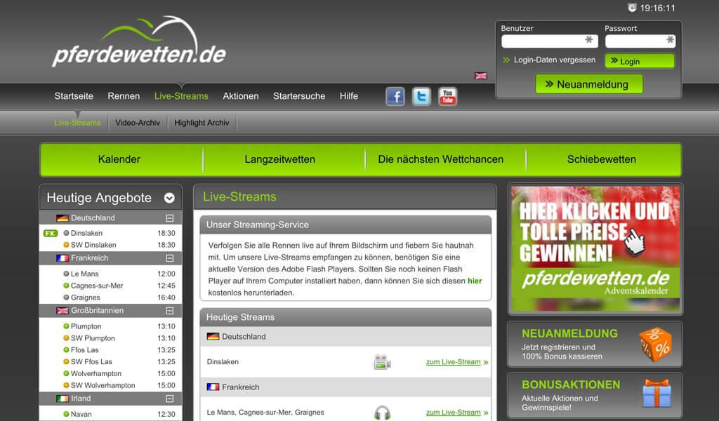 Die Webseite von pferdewetten.de mit einem Auszug der Live-Streams (Quelle: pferdewetten.de)