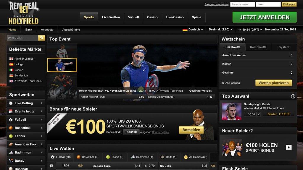 Startseite des Wettanbieters RealDealBet (Quelle: RealDealBet)