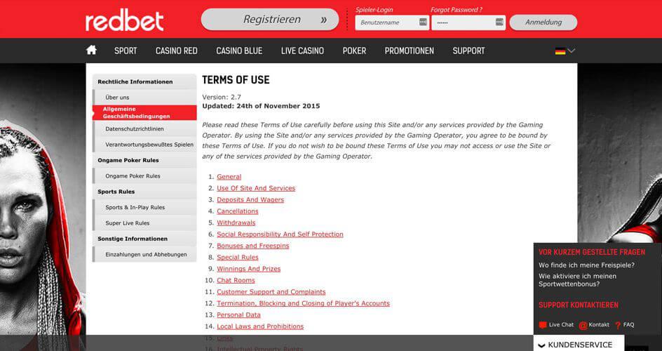 In den AGB bei Redbet findest Du alle wichtigen Informationen zur Kontoschließung (Quelle; Redbet)
