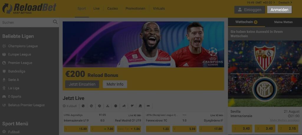 Reloadbet – Registrierung einleiten