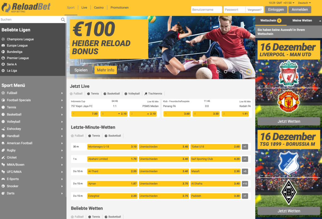 ReloadBet Sportwetten – Erfahrungen und Bewertung