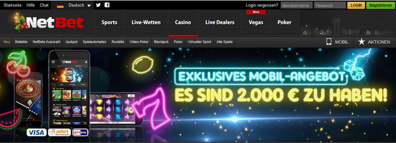Casino Oberfläche beim Wettanbieter NetBet (Quelle: NetBet)