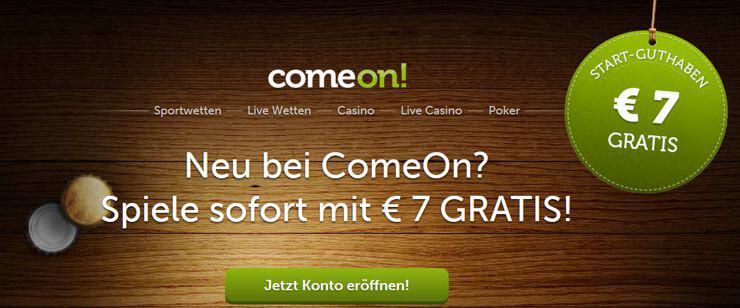 Direkt unter dem aktuellen Bonus auf der Startseite findest Du den Button zur Anmeldung. (Quelle: Comeon)