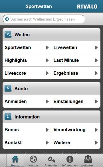 Rivalo mobile App für iPhone, iPad und Android