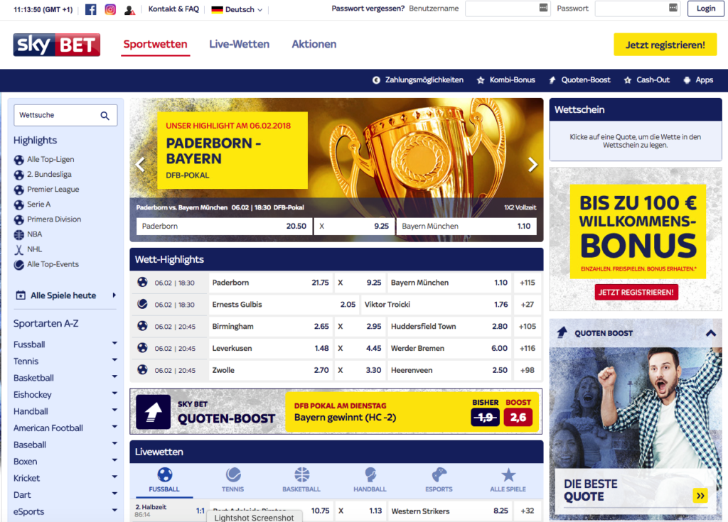 Sky Bet Sportwetten – Erfahrungen und Bewertung