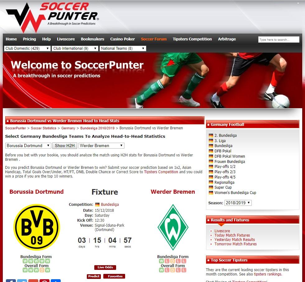 Soccerpunter Webseite mit Auszug einer Match-Statistik (Quelle: Soccerpunter)