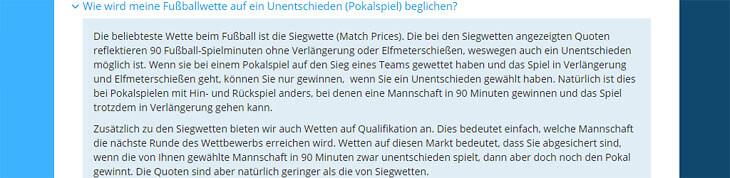 Sportingbet-Regeln für Verlängerungen, z.B. bei Pokalspielen (Quelle: Sportingbet)