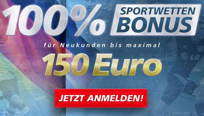 100% Sportwetten Bonus bis zu 150 Euro für Neukunden (Quelle: Sportingbet)