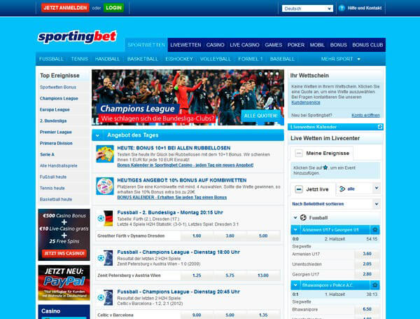 Sportingbet Anmeldung bzw. Registrierung – wie geht es?