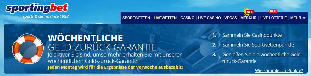 """Sportingbet belohnt aktive Bestandskunden u.a. mit einer """"Geld-Zurück-Garantie"""" (Quelle: Sportingbet)"""