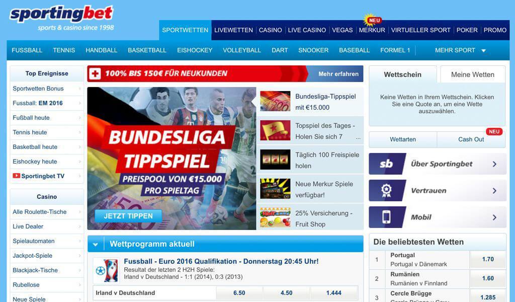 Webseite mit dem Wettangebot von Sportingbet (Quelle: Sportingbet)