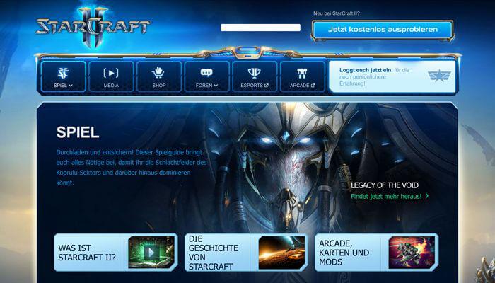 Offizielle Webseite zu Starcraft II mit Informationen zum Spiel (Quelle: eu.battle.net)