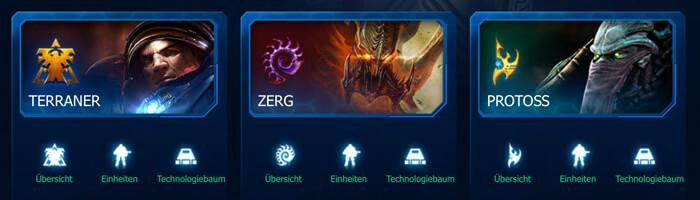 Terraner, Zerg , Protos - die 3 Rassen bei Starcraft II (Quelle: eu.battle.net)