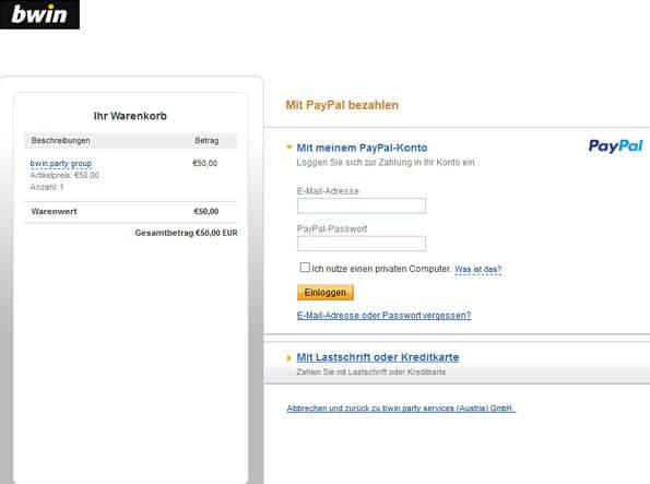 bwin PayPal Einzahlung Schritt 5
