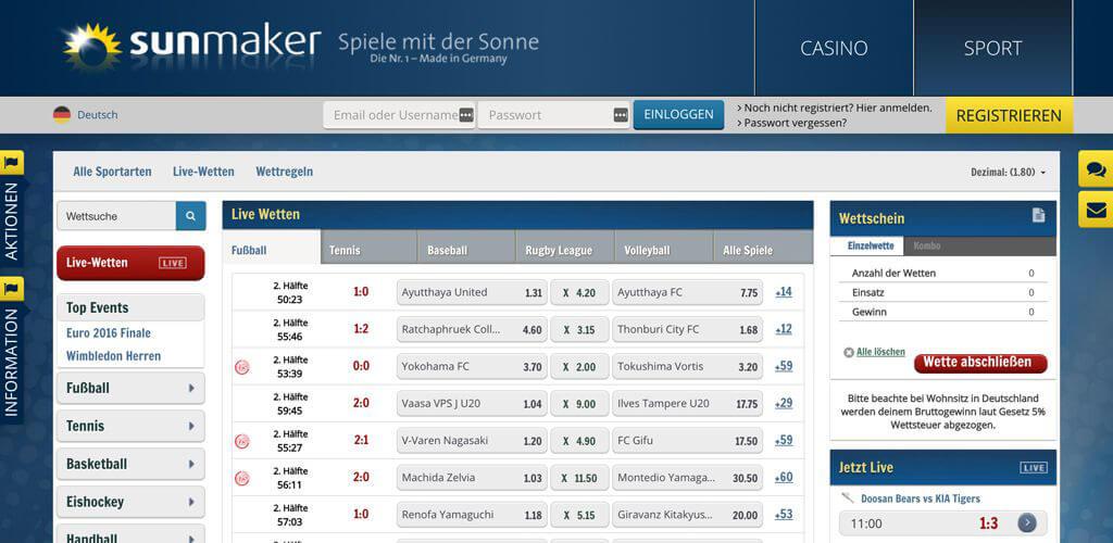 Sunmaker Sportwetten − Erfahrungen und Bewertung