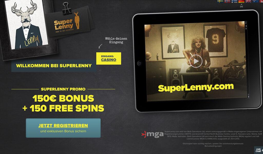 Das Bonus-Angebot erscheint direkt auf der Startseite von Superlenny (Quelle: Superlenny)