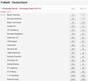 Langzeitwetten Fußball-Bundesliga – Deutscher Meister