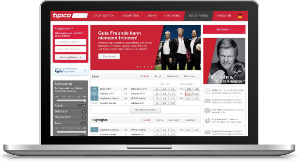 Tipico Startseite mit dem umfangreichen Webangebot (Quelle: Tipico)