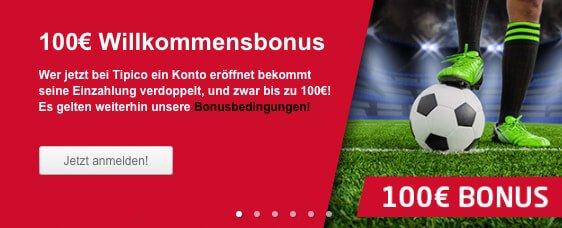 Tipico Bonus 2016 – 100 Euro Wettbonus sichern