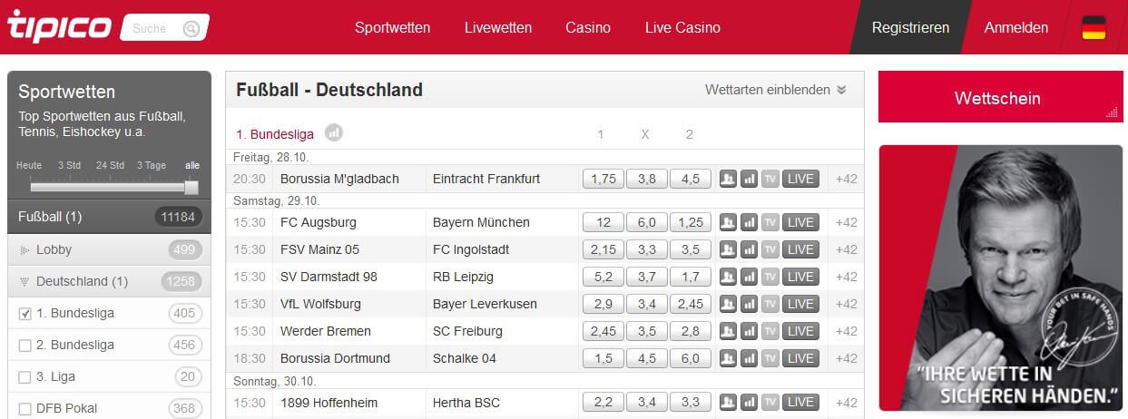 Tipico Bundesliga-Wetten: Quoten, Test und Erfahrungen