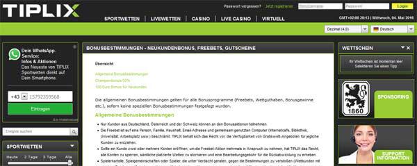 Tiplix-Bonus – Bonus und Bonusbedingungen (100 Euro Gratiswette)