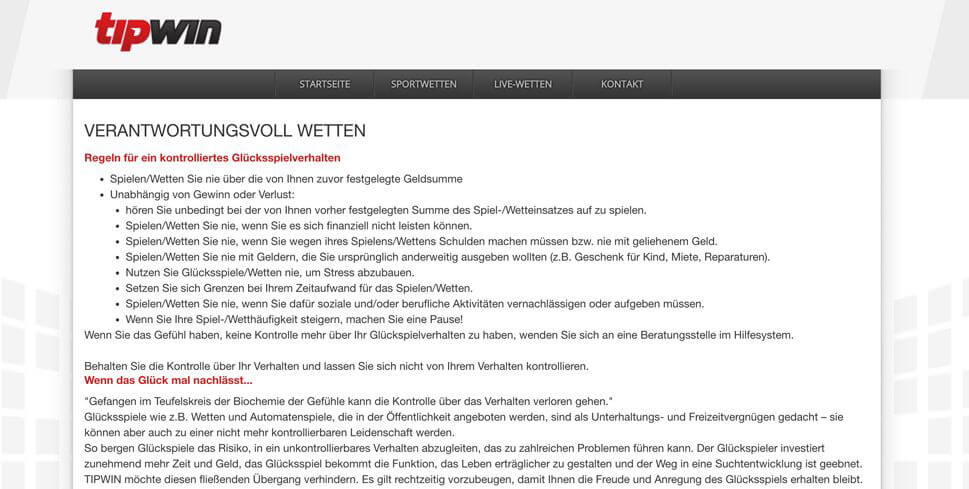 """Tipwin informiert ausführlich zum Thema """"Verantwortungsvolles Wetten"""" auf der Webseite (Quelle: Tipwin)"""