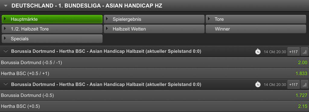 Asian Handicap-Wetten einiger Bundesligabegegnung bei Titan Bet (Quelle: Titan Bet)