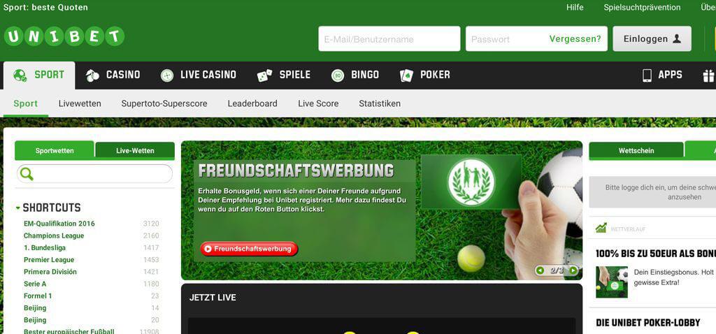 Startseite des Wettanbieters Unibet (Quelle: Unibet)