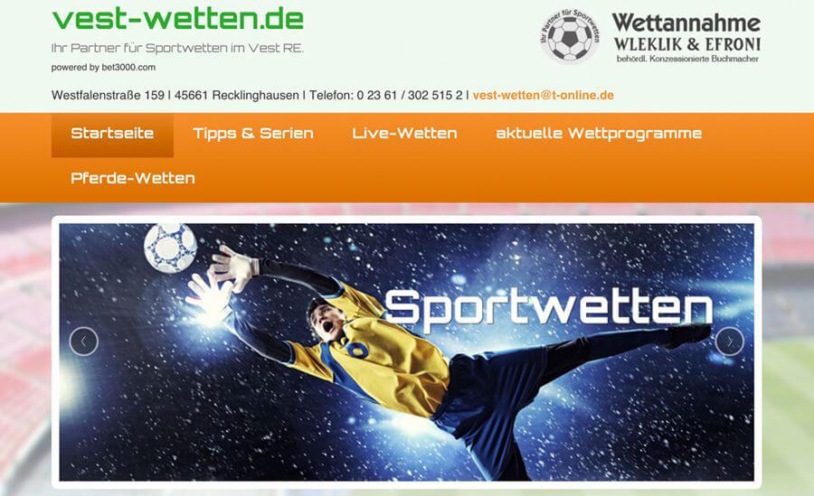 Der Webauftritt von Vest-Wetten (Quelle: vest-Wetten.de)
