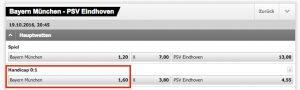 Wett-Tipp heute: Bayern München schlägt PSV Eindhoven mit Handicap -1