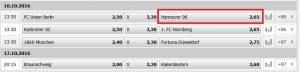 Wett-Tipp heute: Union Berlin – Hannover 96 (16.10.2016)