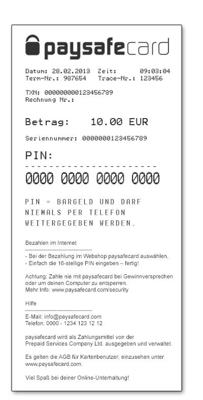 paysafecard Wetten: Beispiel Voucher